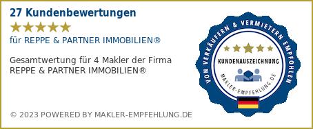 Qualitätssiegel makler-empfehlung.de für REPPE & PARTNER IMMOBILIEN®