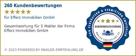 Qualitätssiegel makler-empfehlung.de für Efferz & Hoppen Immobilien GmbH