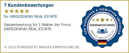 Qualitätssiegel makler-empfehlung.de für GROSZEWSKI REAL ESTATE