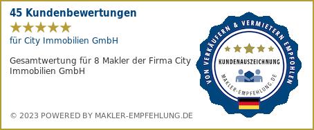 Qualitätssiegel makler-empfehlung.de für City Immobilien GmbH