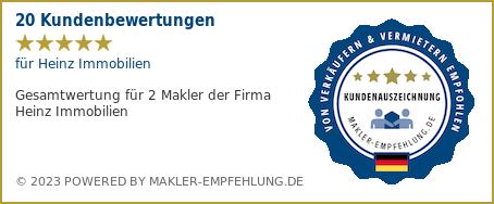 Qualitätssiegel makler-empfehlung.de für Heinz Immobilien