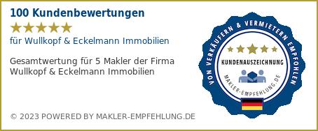 Qualitätssiegel makler-empfehlung.de für Wullkopf & Eckelmann Immobilien