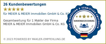 Qualitätssiegel makler-empfehlung.de für MEIER & MEIER Immobilien GmbH & Co. KG