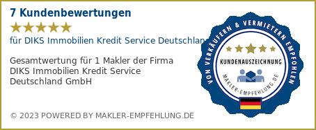 Qualitätssiegel makler-empfehlung.de für DIKS Immobilien Kredit Service Deutschland GmbH