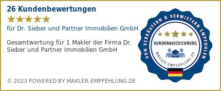 Qualitätssiegel makler-empfehlung.de für Dr. Sieber und Partner Immobilien GmbH