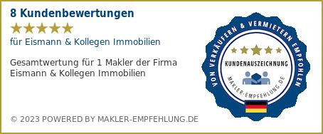 Qualitätssiegel makler-empfehlung.de für CENTURY 21 Eismann&Kollegen Immobilien