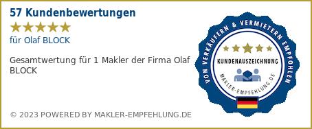 Qualitätssiegel makler-empfehlung.de für Olaf BLOCK