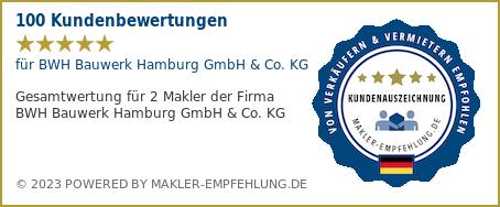 Qualitätssiegel makler-empfehlung.de für BWH Bauwerk Hamburg GmbH & Co. KG