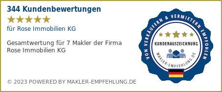 Qualitätssiegel makler-empfehlung.de für Rose Immobilien KG
