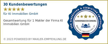 Qualitätssiegel makler-empfehlung.de für KI Immobilien GmbH