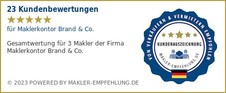 Qualitätssiegel makler-empfehlung.de für Maklerkontor Brand & Co.