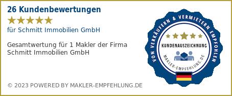 Qualitätssiegel makler-empfehlung.de <https://makler-empfehlung.de> für Schmitt Immobilien GmbH