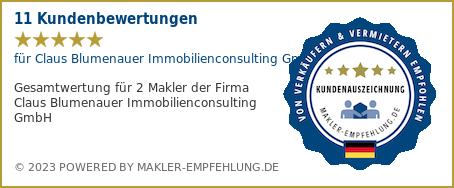 Qualitätssiegel makler-empfehlung.de für Claus Blumenauer Immobilienconsulting GmbH