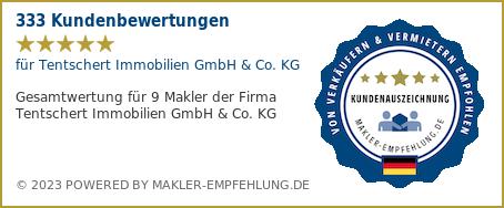 Qualitätssiegel makler-empfehlung.de für Tentschert Immobilien GmbH & Co. KG