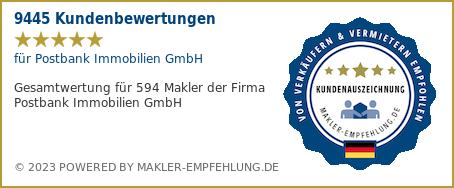 Qualitätssiegel makler-empfehlung.de für Postbank Immobilien GmbH