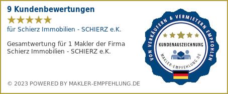 Qualitätssiegel makler-empfehlung.de für Schierz Immobilien - SCHIERZ e.K.