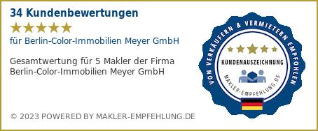 Qualitätssiegel makler-empfehlung.de für Berlin-Color-Immobilien Meyer GmbH