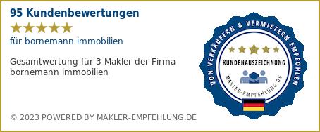 Qualitätssiegel makler-empfehlung.de für bornemann immobilien